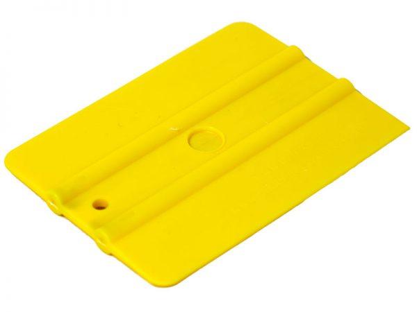 """UZLEX Ракель простой 70М2 WRAP, желтый, средней жёсткости 4"""", 100х75мм"""