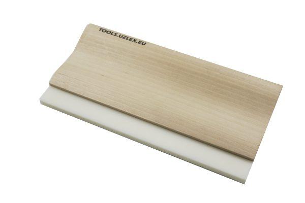 Ракель деревянный с жестким полиуретановым лезвием,  Wooden squeegee, 220 мм